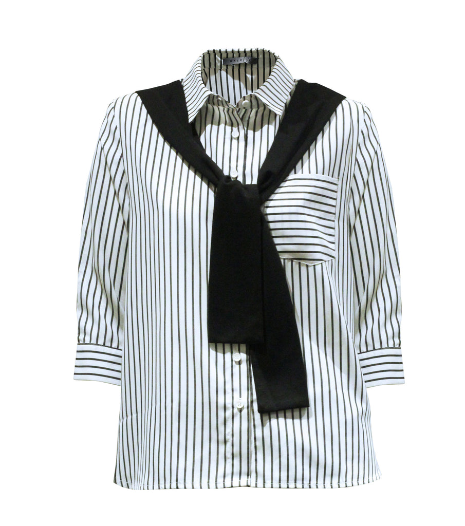KC 3/4 Stripes Shirt with Scarf Detail