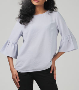Jennica Scoop Neck Quarter Bell Sleeves Top