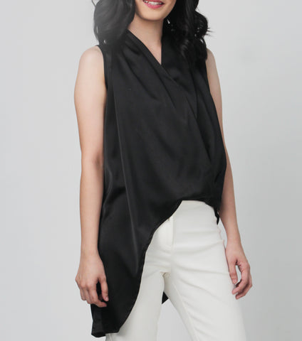 Ianna High Low Overlap Pleated Top