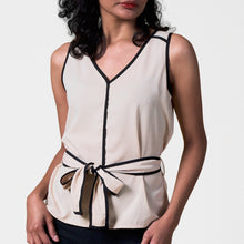 Load image into Gallery viewer, Kenzie Sleeveless Blouse With Piping And Belt