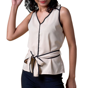 Kenzie Sleeveless Blouse With Piping And Belt