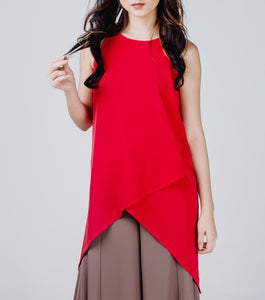 Lily Halter Overlap Tunic Top (Red)