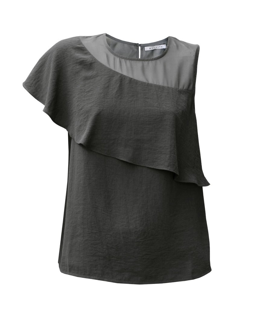 Jade Asymmetric Draped Sleeveless Top