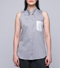 Load image into Gallery viewer, Ishel Sleveless Shirt with Contrast Pocket