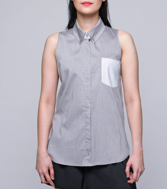 Ishel Sleveless Shirt with Contrast Pocket