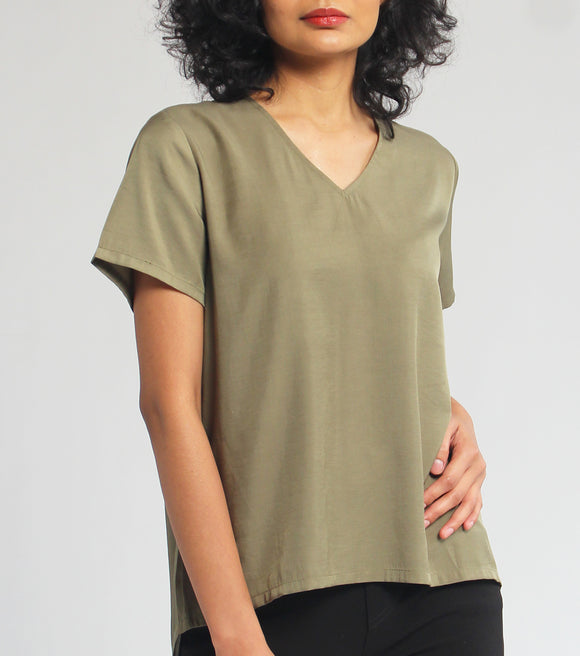Carmella Short Sleeve Blouse With Back Cutting