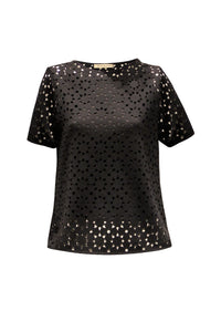 Lyka Black Lasercut Neoprene Top