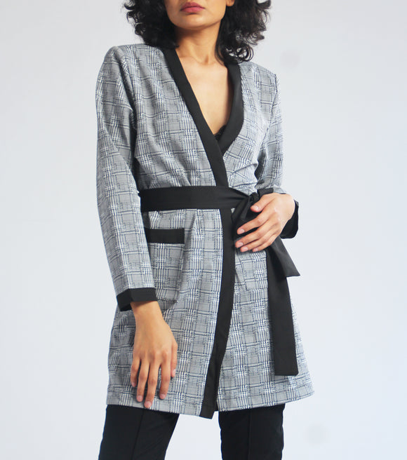 Kyra Printed Robe Jacket with Belt