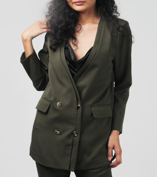 Ivy Double Breasted Relaxed Fit Blazer
