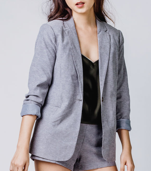 Itzel Long Blazer with Notch Collar
