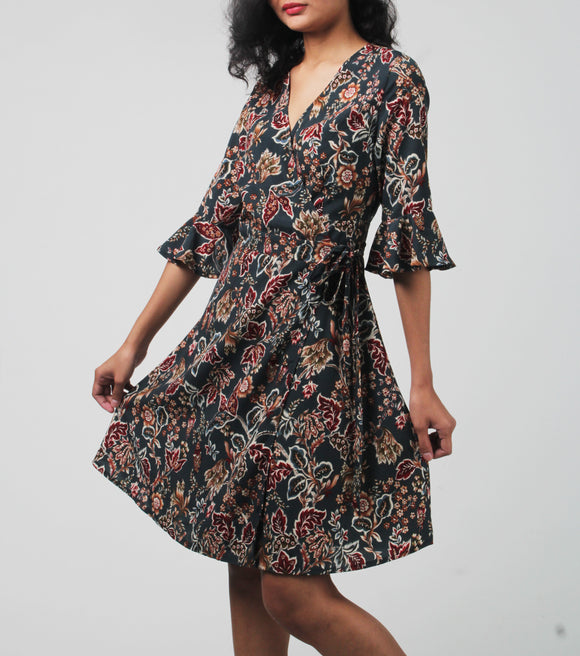 Heather Floral Wrap Around Dress