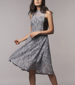Leah Midi A-Line Lace Dress