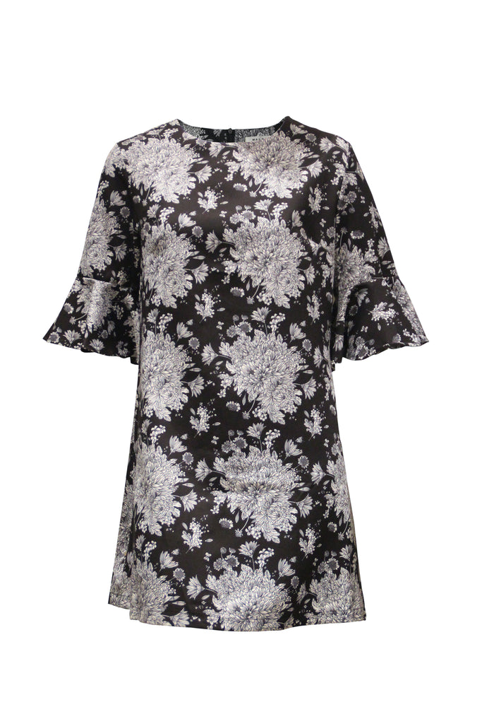 Hillary Black Floral Doodle Dress