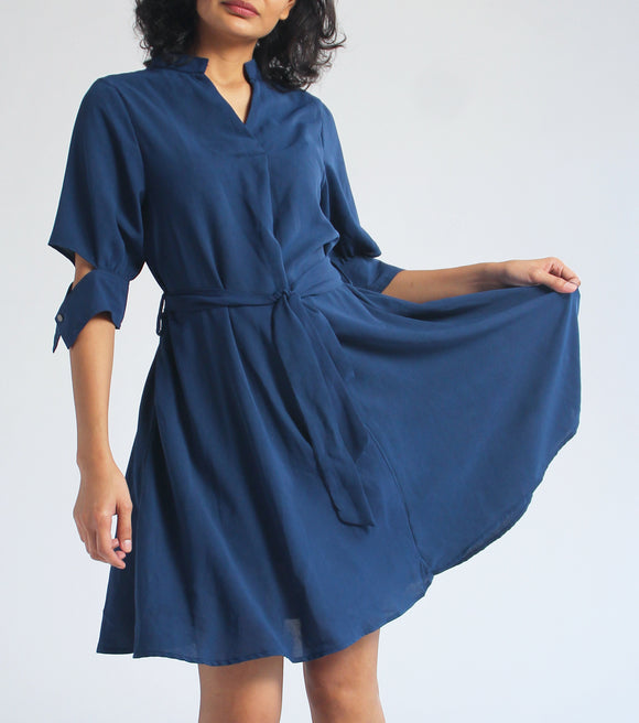 Janine Short Sleeve Dress With Sleeve Detail