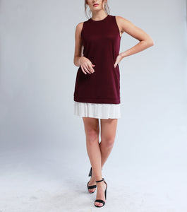 Levi Sleeveless Dress with Pleat Hem (Maroon)