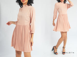 Lerna Quarter Sleeves Dress w/ Pleat Details (Taupe)