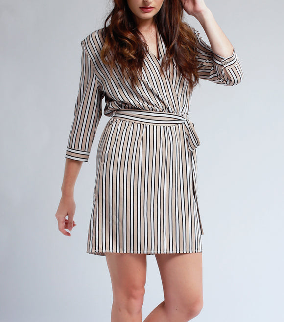 Lady Stripes 3/4 Sleeves Overlap Neck Dress (Beige)