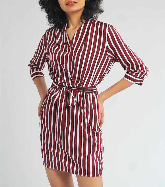 Lady Stripes 3/4 Sleeves Overlap Neck Dress (Maroon)