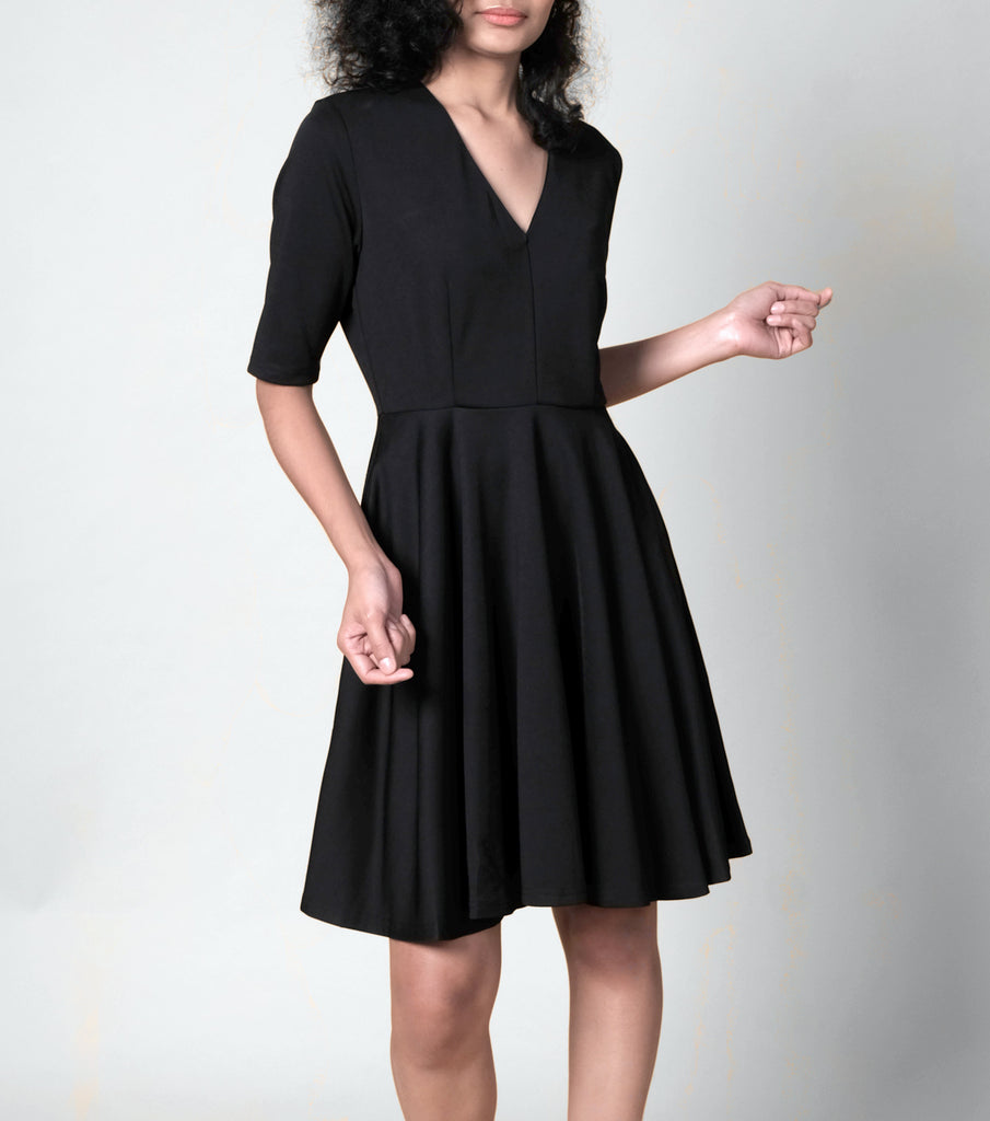Maldita Lola V-neck Midi Full Skirt Dress