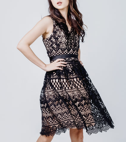 Lanie Sleeveless V-Neck Waisted Lace Skirt Dress