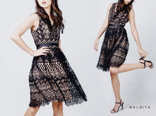 Load image into Gallery viewer, Lanie V-Neck Waisted Lace Skirt Dress