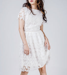 Lucy Short Sleeves Boat Neck Waisted Lace Dress