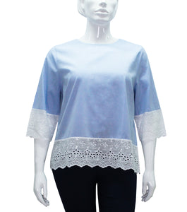 Elza Scoop Neck Lace Hem Top