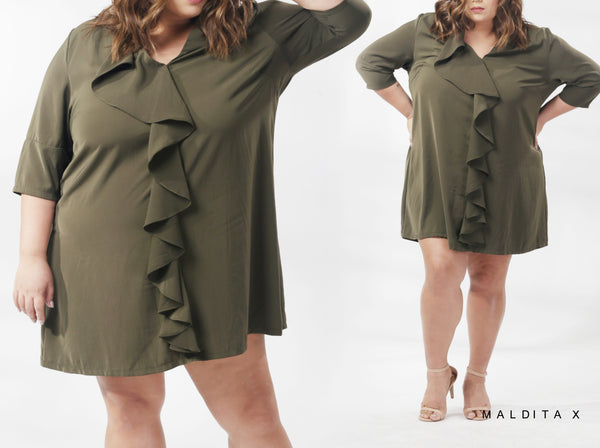Jewel Ruffled Shift Dress