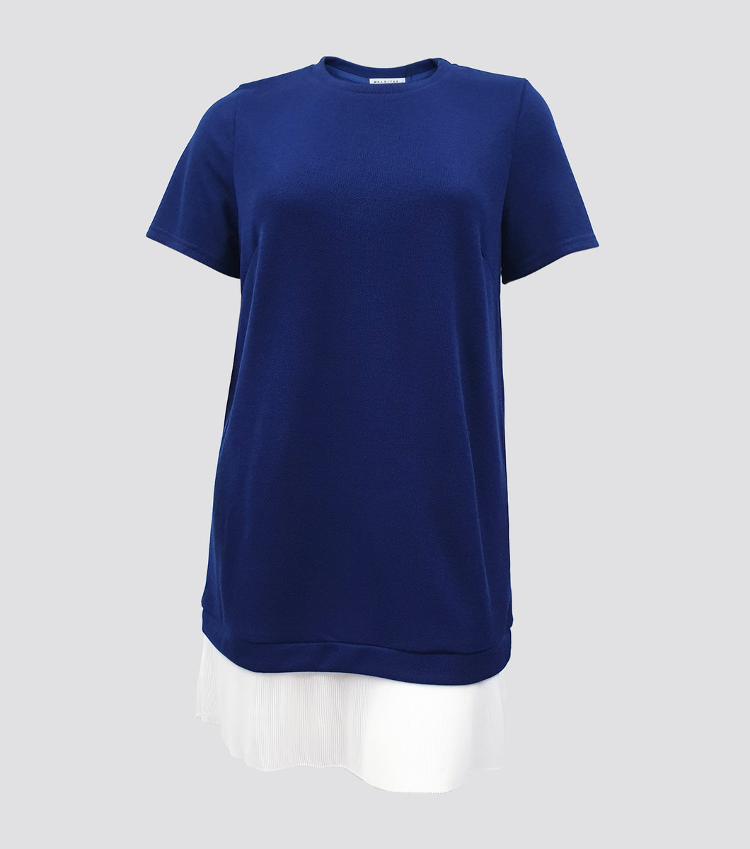 X Laiza Short Sleeves Dress with Pleat Hem