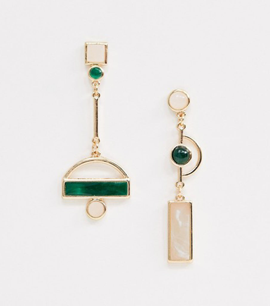 Lette Green Gold Dangling Earrings