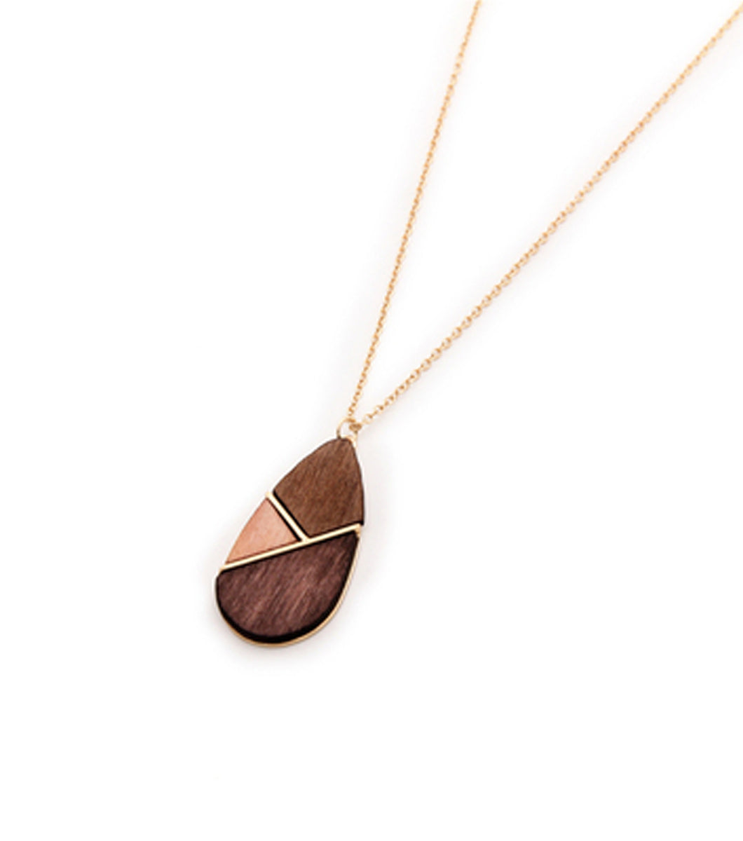 Lorrin Necklace w/ Wood Tear Drop Pendant