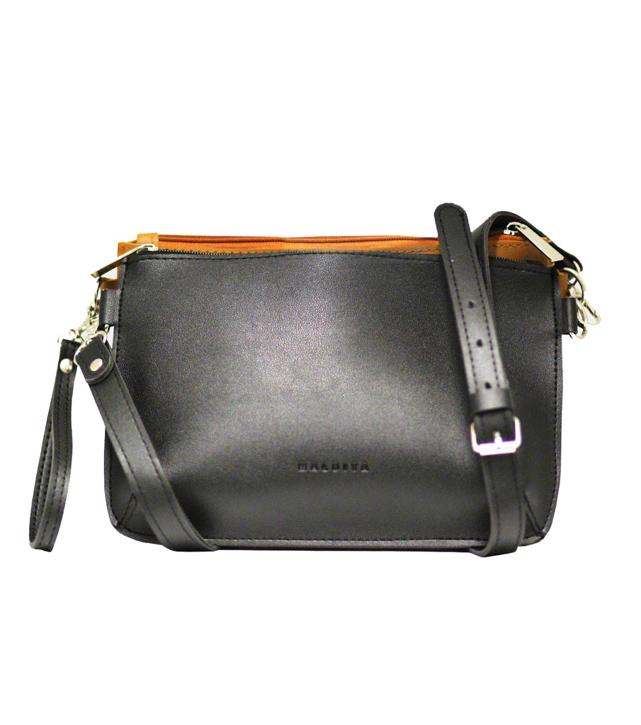 Double Pouch Sling Bag (Black/ Camel)