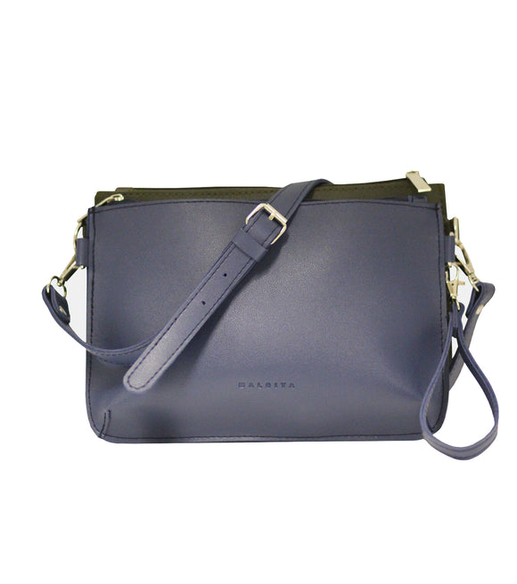 Double Pouch Sling Bag (Navy Blue/Fatigue)