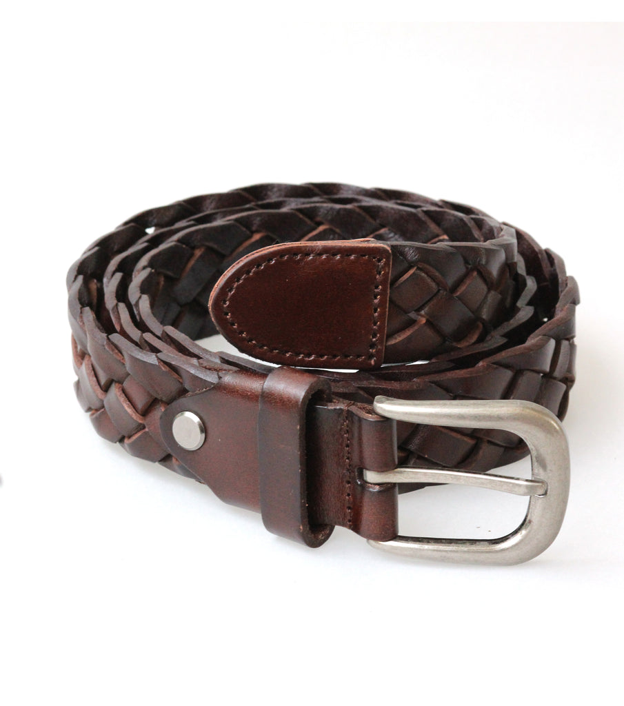 Leather Braided Belt (Brown)