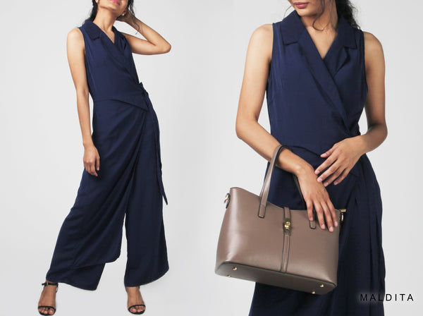 Izzy Notched Overlap Collared Jumpsuit