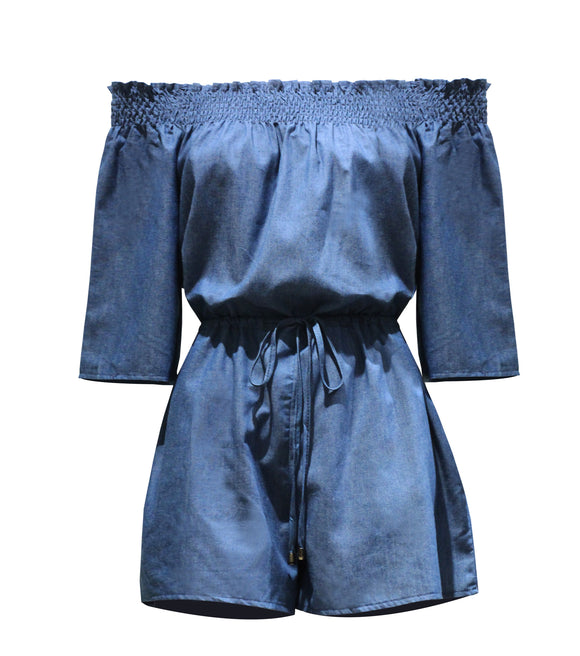 Gaida Off Shoulder Chambray Romper