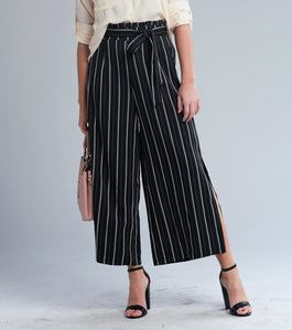 Leah High Waist Wide Leg Pants (Black)