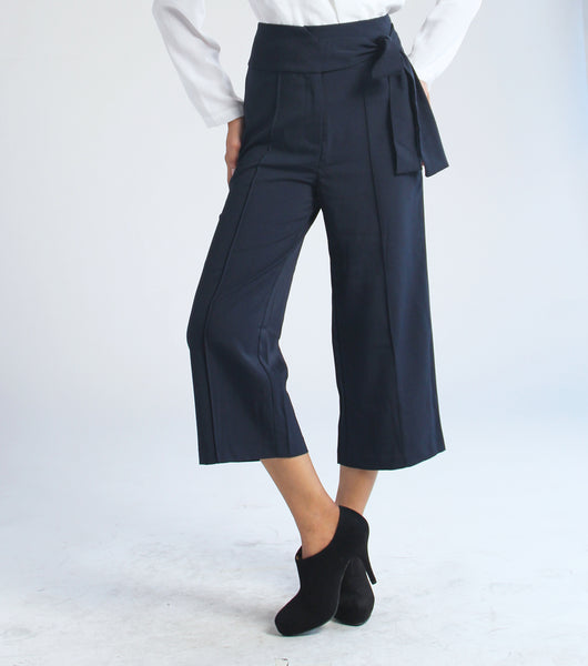 Cris Wide Leg Pants with Sash (Navy Blue)