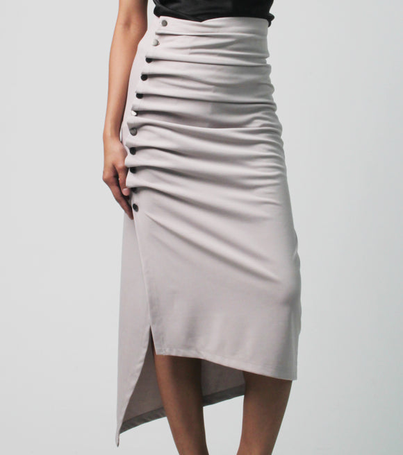Jane High Waist Ruched Midi Skirt