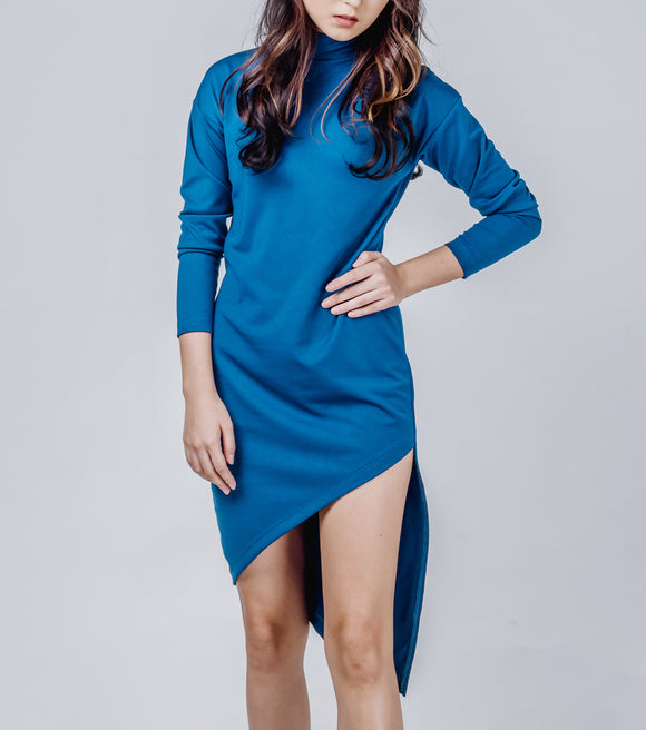 Louella Asymmetrical Turtle Neck Dress