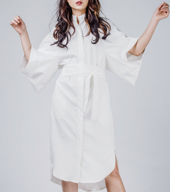 Lily Mini High Low Shirt Dress w/ Obi Sash