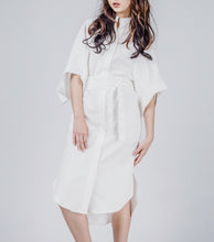 Load image into Gallery viewer, Lily Mini High Low Shirt Dress w/ Obi Sash
