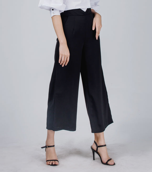 Lydia High Pleated Waist Wide Leg Pants (Black)