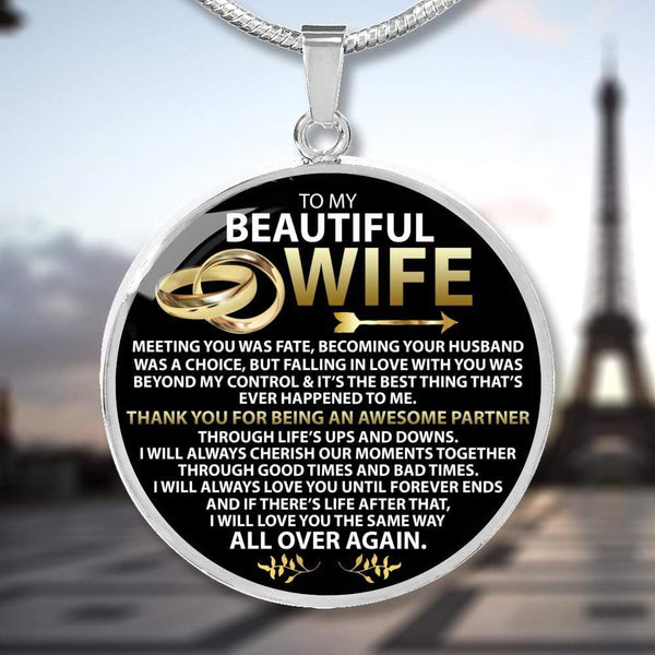To My Beautiful Wife - Silver Love Necklace - AQP01-S