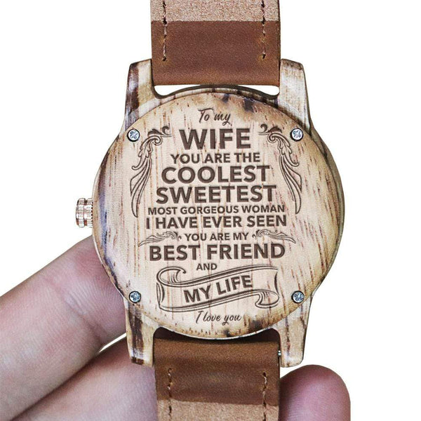 To My Wife - Vanilla Rose Wood Watch - AQ10