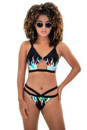 BIKINI NEGRO REFLECTIVO FUEGO TOWERS SWIMWEAR
