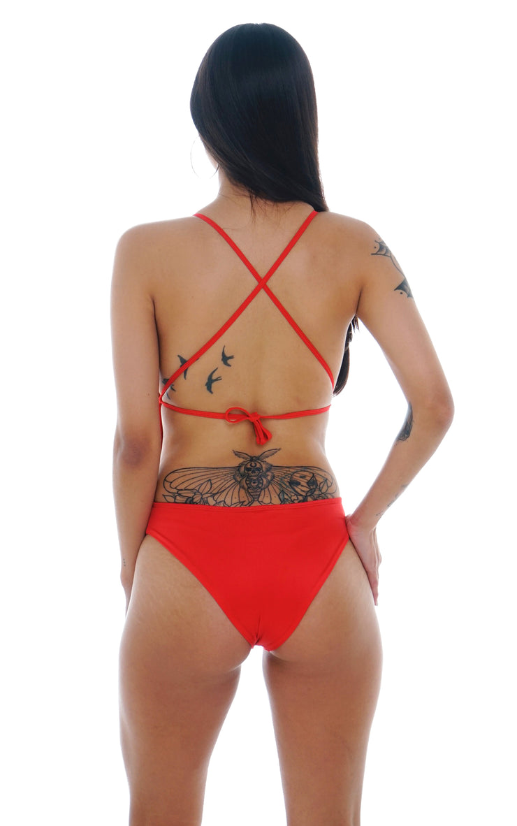 SWIMSUIT LACE UP ROJO