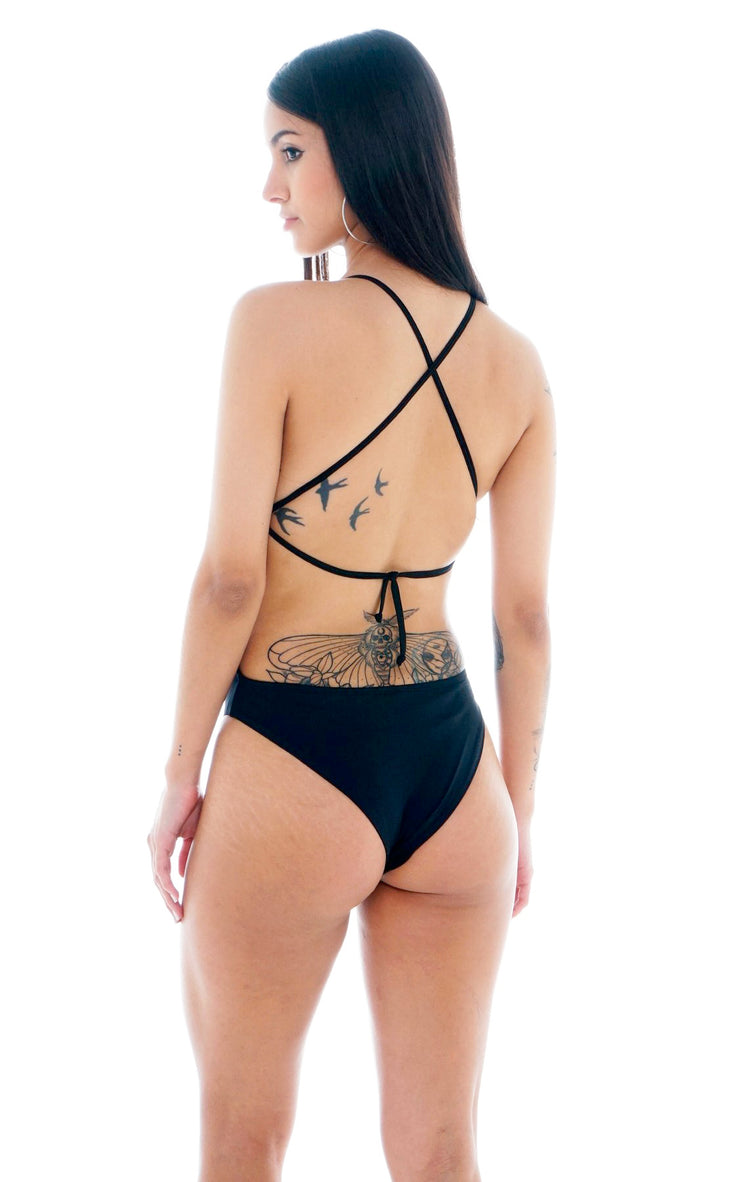SWIMSUIT LACE UP BLACK