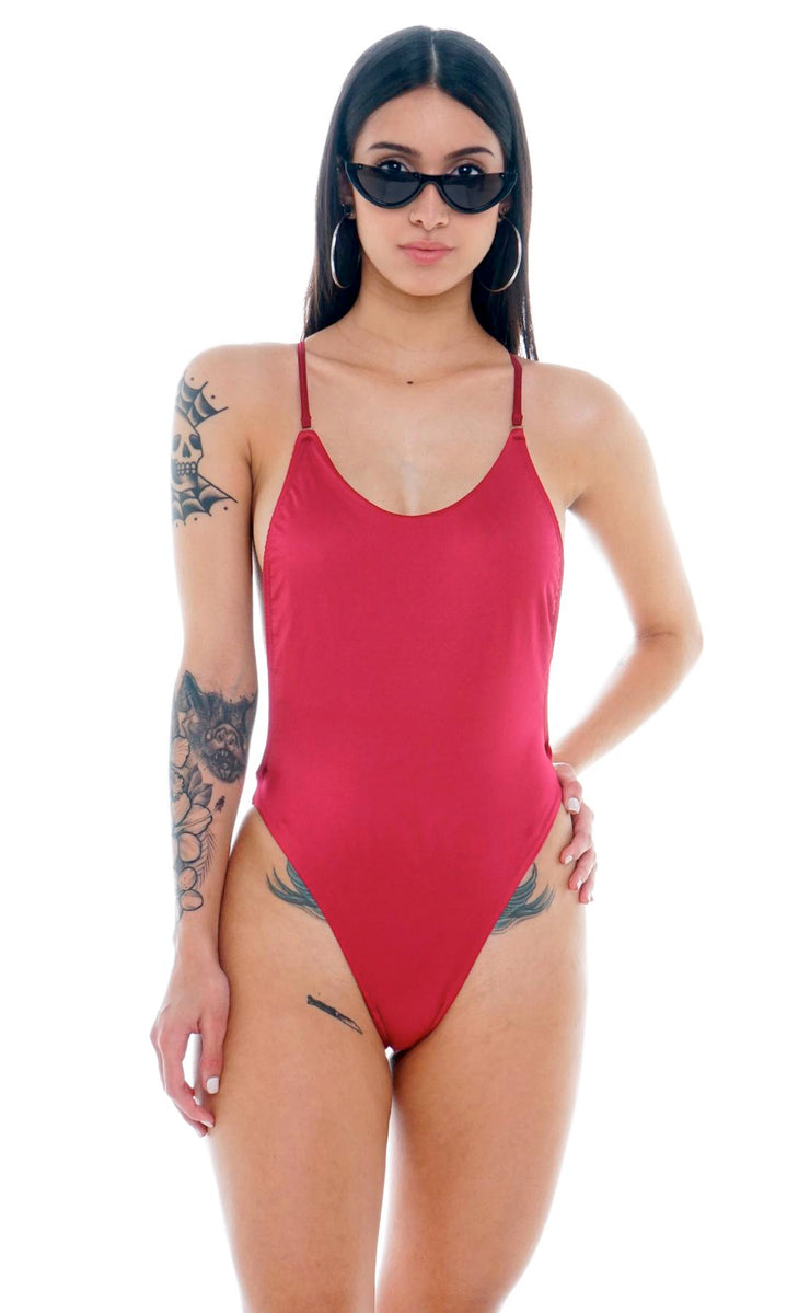 SWIMSUIT VINOTINTO 90S
