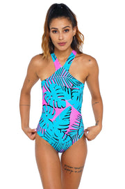SWIMSUIT HALTER NEON LEAVES